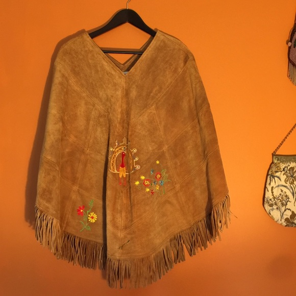 Boho cape with fringe music festival Vintage yellow /& black embroidered poncho hippie